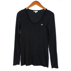 Lacoste Long Sleeve Scoop Neck Logo T-Shirt